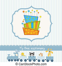Happy Birthday cupcake, vector illustration