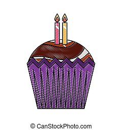 happy birthday cupcake with candles celebration drawing color