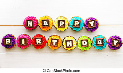 Happy birthday cupcakes - Cupcakes with a birthday greeting