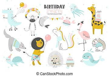 Happy Birthday. Cute Animals hand drawn style. Vector collection.