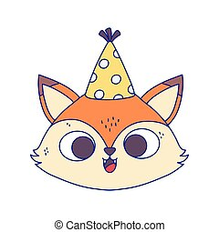 happy birthday, cute fox face with party hat cartoon isolation design icon