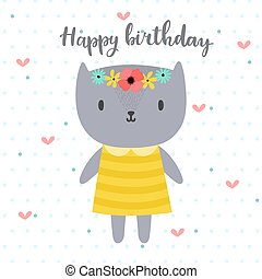 Happy Birthday. Cute greeting card with funny little cat.