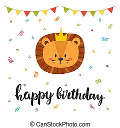 Happy birthday princess and prince greeting card vector happy birthday cute greeting card with funny little lion stopboris Choice Image