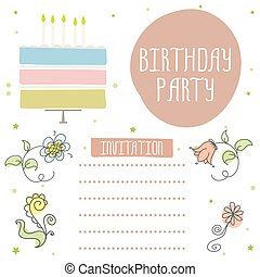 Happy birthday, cute invitation card with cake and flowers