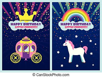 Happy Birthday Dear Princess, Greeting Cards Set