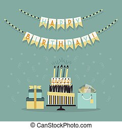 Happy Birthday decoration banner with cake and presents card on teal background