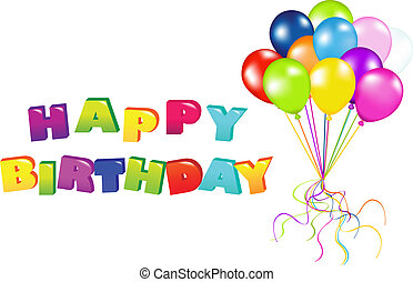 Decoration Ready For Birthday With Balloons, Isolated On White Background, Vector Illustration