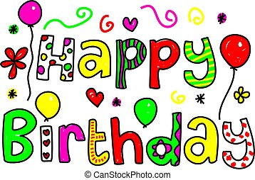 happy birthday - decorative whimsical Happy Birthday text...
