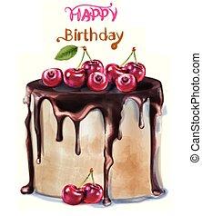 Happy birthday delicious cherry cake Vector watercolor. Card decors