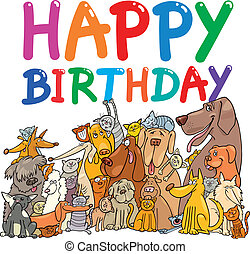 happy birthday design - cartoon illustration design for ...