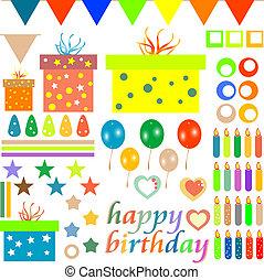 happy birthday design elements for baby scrapbook