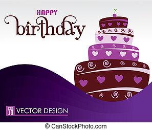 happy birthday design over purple background vector illustration