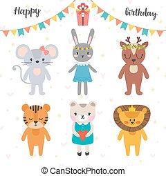 Happy birthday design with cute cartoon animals. Funny greeting card