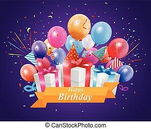 Happy Birthday design with gift box