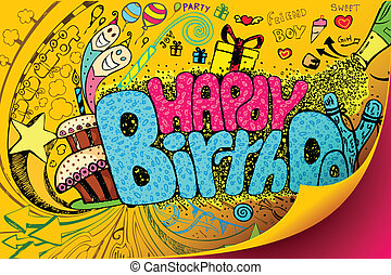 Happy Birthday Doodle - illustration of colorful happy...