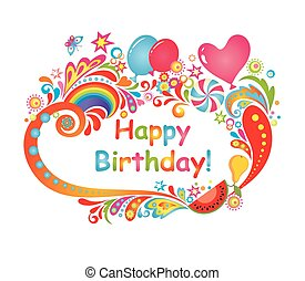 Happy Birthday Card Colorful Birthday Party Card Canstock