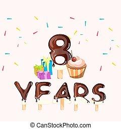 Happy Birthday eight 8 years greeting card.
