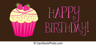happy birthday with cupcake over brown background. vector