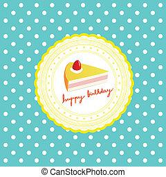 Happy Birthday - cake on Happy Birthday card