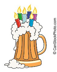 Happy Birthday - Vector illustration of pint of beer with...