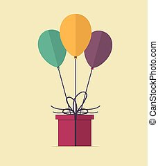 Happy Birthday. Vector Illustration of Present and Balloons....