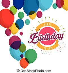 happy birthday explosion confetti balloons card