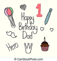 Happy birthday, father, doodle, card