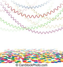 Happy Birthday Festival Multicolor Curling Stream, Isolated On White Background, Vector Illustration
