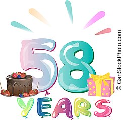 Happy Birthday fifty eight colorful geometry design