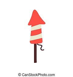 happy birthday firework rocket celebration flat style icon