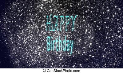 Happy birthday fireworks party on sky