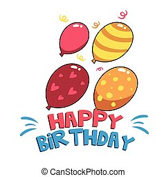 Happy Birthday Four Balloons Background Vector Image