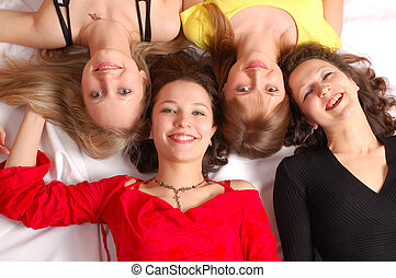 Four girls friends have fun