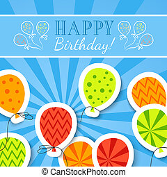 Happy birthday funny postcard with balloons.