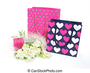 Happy birthday - Gift bags and flowers for someone's ...