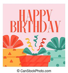Happy Birthday Gift Box Background Vector Image