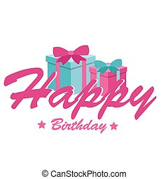 Happy Birthday Gift Box White Background Vector Image