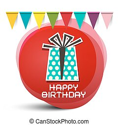 Happy Birthday Gift Box with Flags on Red Circle Abstract Background