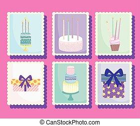 happy birthday, gift cakes cupcake candles stickers cartoon celebration decoration