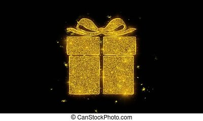 Happy Birthday gift Written with Golden Particles Sparks Fireworks