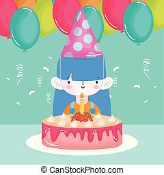 happy birthday girl with party hat cake balloons