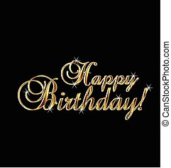 Happy birthday gold words - Happy birthday in gold elegant ...