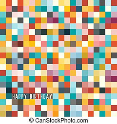Happy Birthday Greating Card. Colorful Checked Background....