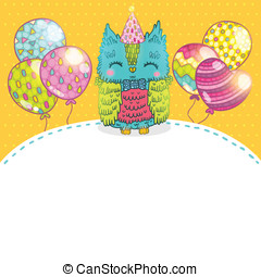 Happy Birthday greeting background with an owl