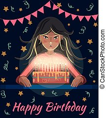 Happy birthday greeting card. Cartoon girl with long hair blows out the candles on the cake. Birthday Party