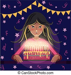 Happy birthday greeting card. Cartoon girl with long hair blows out the candles on the cake.