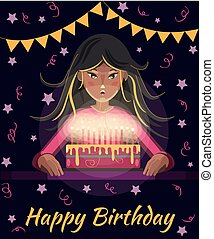 Happy birthday greeting card. Cartoon girl with long hair blows out the candles on the cake