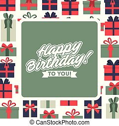 happy birthday greeting card celebration background with gift boxes frame