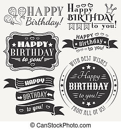 Happy birthday greeting card collection in holiday design....