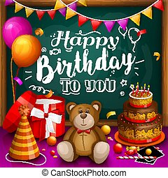 Happy birthday greeting card. Colorful gift box. Lots of presents.